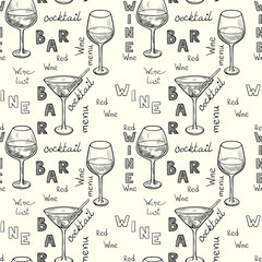 Sketched wine glasses hand drawn seamless pattern