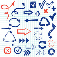 Hand drawn arrows and other symbols