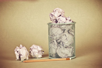 retro and vintage style of crumpled paper waste idea