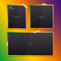Set of empty photo frames on color background.