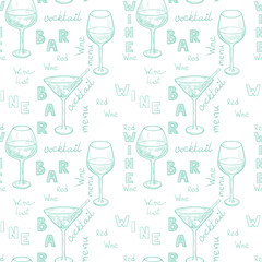 Sketched wine and cocktail glasses seamless pattern