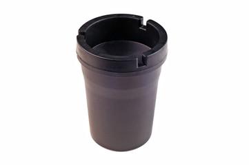 Black ashtray for car, isolated on white background