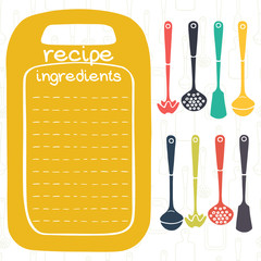 Hand drawn recipe card with kitchen tools