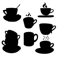 Coffee and tea cups and mugs silhouettes