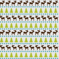 Winter seamless pattern with moose and fir trees