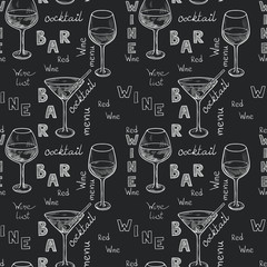 Bar seamless pattern. Hand drawn wine glasses on chalkboard