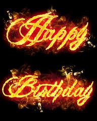 Fire Text Happy Birthday