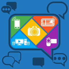 Bubble chatting infographic with icons mobile