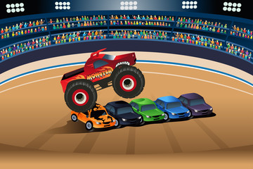 Monster truck jumping on cars