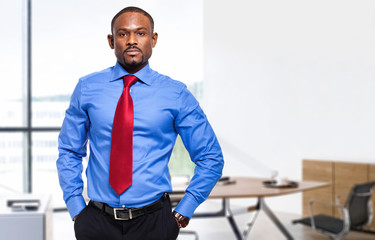 Confident african businessman in his office
