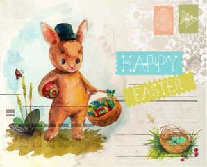 Watercolor vintage style Easter card