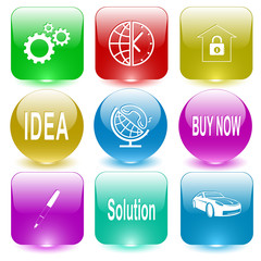 gears, globe and clock, bank, idea, globe and handset, buy now,