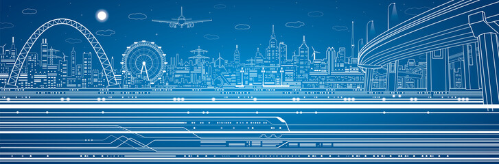 Wall Mural - Vector industrial and transport panorama, night city