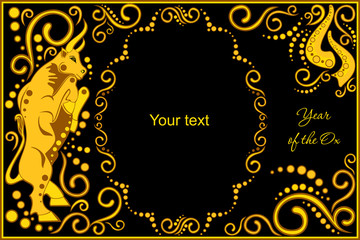 vector template with sign chinese horoscope ox