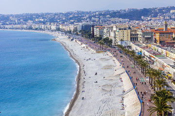 Nice, typical urban top view. Promenade des Anglais