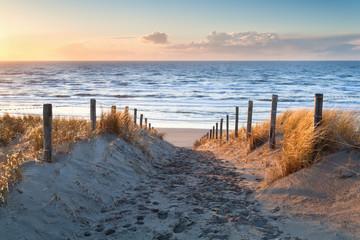 sand path to North sea coast at sunset