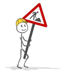 Strichmännchen Bauarbeiter