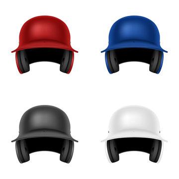 Set of vector baseball helmets. Isolated on white.