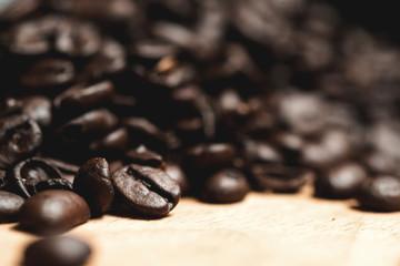 Coffee beans, macro, soft focus
