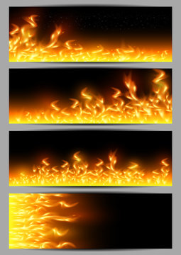 Banners with tongues of flame