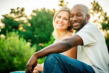 Mixed Race Couple at a Park