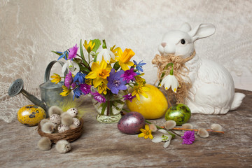 Easter eggs flowers snowdrops rabbit