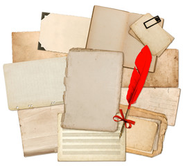 Antique paper sheets with red feather ink pen. Used textures and