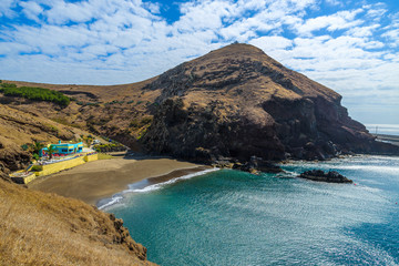 Tropical Prainha beach on coast of Madeira island, Portugal