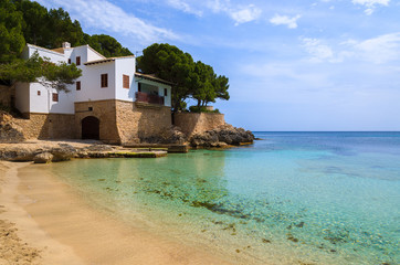 View of Cala Gat beach on coast of Majorca island, Spain