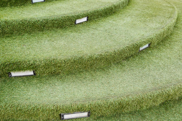 staircase artificial grass with wooden