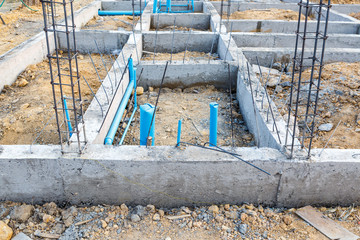 foundation for house building with plumbing system