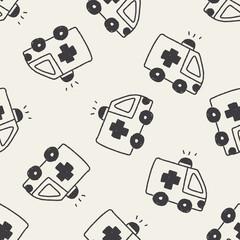 ambulance doodle drawing seamless pattern background