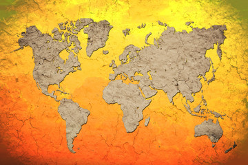 vintage world map with Red background