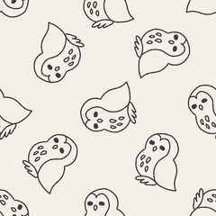 owl doodle drawing seamless pattern background
