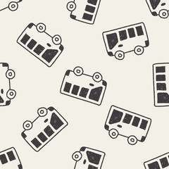 bus doodle drawing seamless pattern background