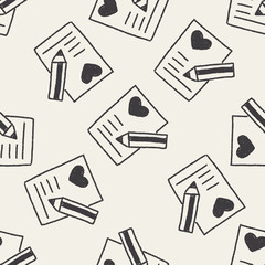 love letter doodle drawing seamless pattern background