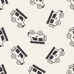 car doodle drawing seamless pattern background