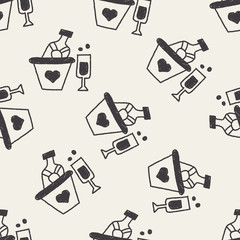 Champagne doodle drawing seamless pattern background