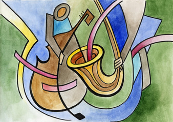 Abstract art design with trump and contrabass