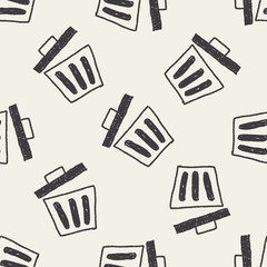 trash can doodle drawing seamless pattern background