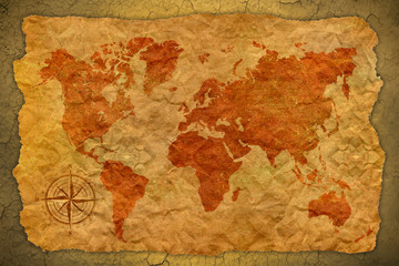 vintage paper  with world map on wall