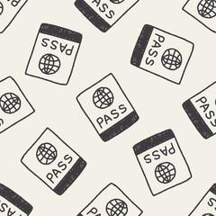 passport doodle drawing seamless pattern background