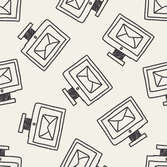 computer mail doodle drawing seamless pattern background