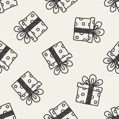 birthday presents doodle drawing seamless pattern background