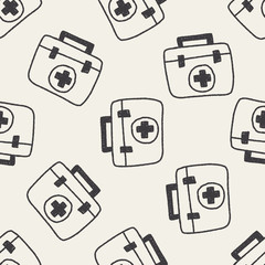 medical box doodle drawing seamless pattern background