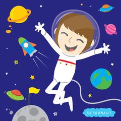 Boy Astronaut Spaceman Cute Cartoon Vector Design