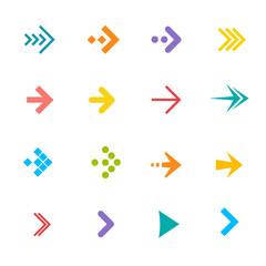 Vector colorful arrows set. Flat Design