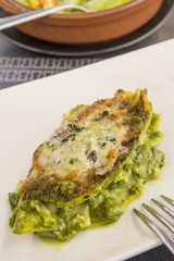 Lasagne with vegetables, spinach and cheese