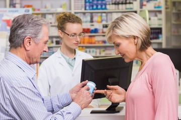 Costumers talking about medicine