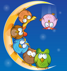 owl group cartoon on moon